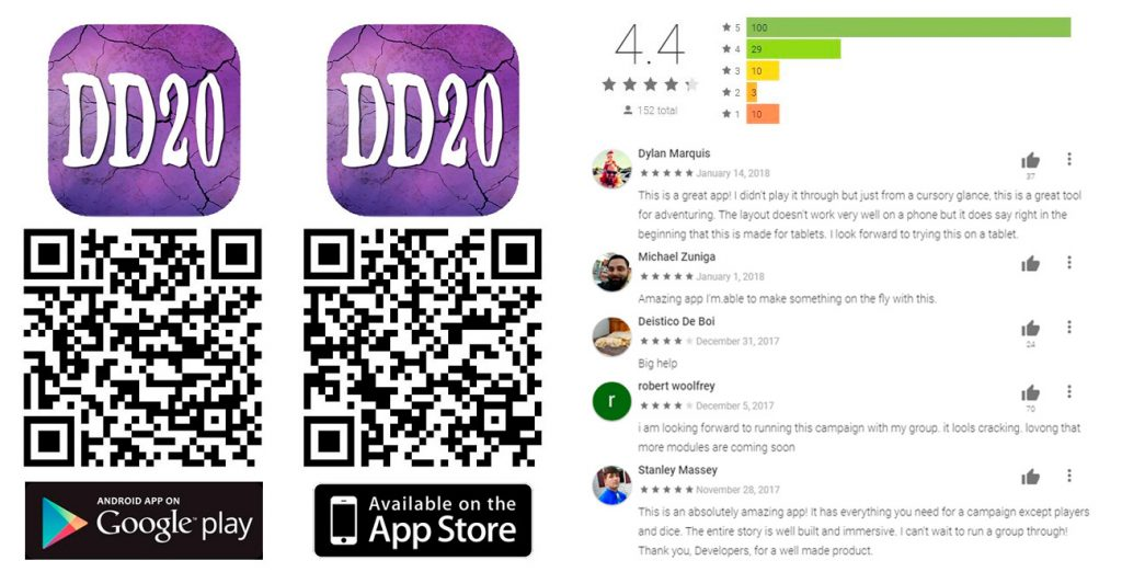 Digital d20 App qr codes